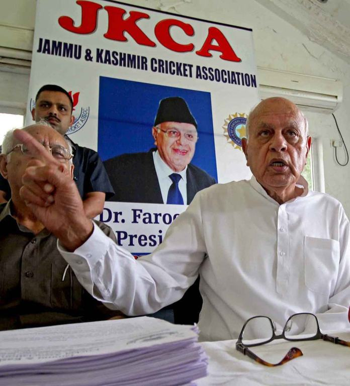 Dr Farooq Abdullah addressing a press conference at JKCA headquarters on Tuesday.