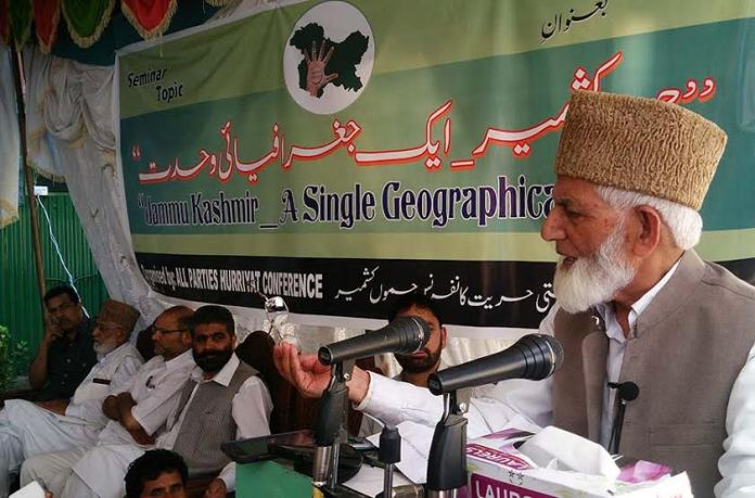 Octogenarian Syed Ali Geelani addressing seminar at his office-cum residence in uptown Hyderpora on Wednesday.