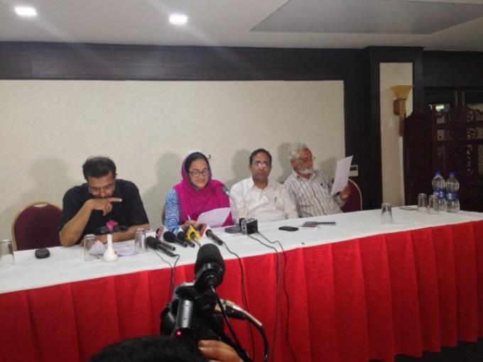 KCDCS members addressing a press conference in Srinagar.
