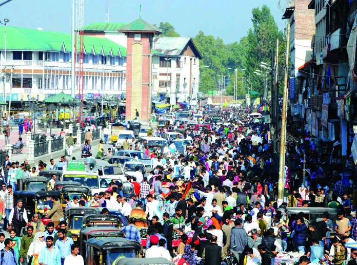People in Lalchowk on day before Eid