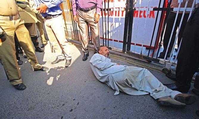 Er-Rashid-during-a-protest-demonstration-outside-civil-Secretriate-on-Friday.