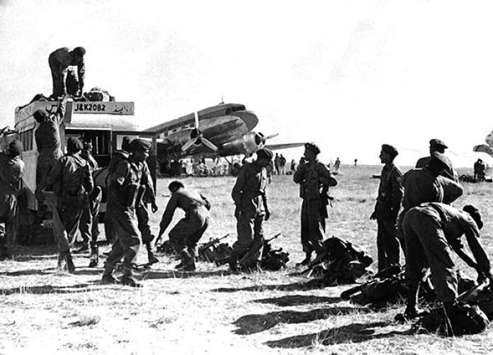 Indian army landing at Srinagar Airport on October 27, 1947.