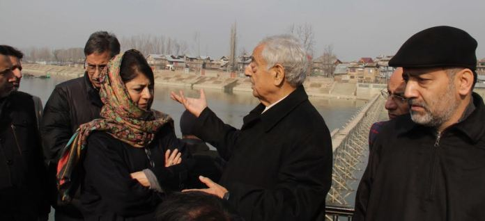 On his last tour of Srinagar city, late CM Mufti Mohammad Sayeed with his daughter inspecting Old City's Veer area in Chattabal.
