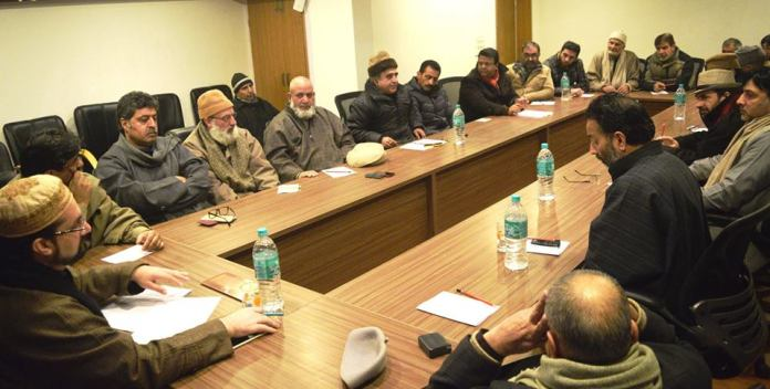 A meeting of All Parties Hurriyat Conference (m) discussing the Human Rights report on Wednesday at Rajbagh headquarters. (KL file Image)