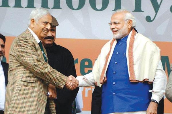 CM Mufti with PM Narendra Modi in Srinagar when later visited Srinagar on November 07 last year.