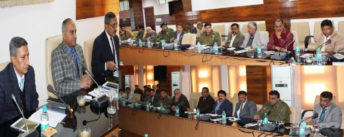 DGP Chairing a meeting in Jammu on Friday.