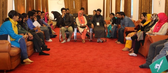 Some of the youth representatives who met PDP chief Mehbooba Mufti on Monday at her Fairview residence.