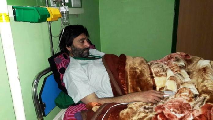 JKLF chief Yasin Malik admitted in Florence Hospital Srinagar.