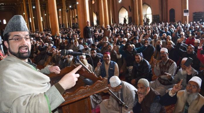 Mirwaiz Addressing Friday Congregation in Jamia Masjid
