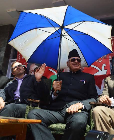Jammu and Kashmir National Conference Party President Dr. Farooq Abdullah during a joining function at party headquarter Nawa-e-Subha Complex in Srinagar on TuesdayPHOTO BY BILAL BAHADUR