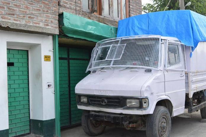 Police van stationed outside residence of Hurriyat patriarch Syed Ali Geelani on Friday. He is under house detention since he returned from New Delhi.