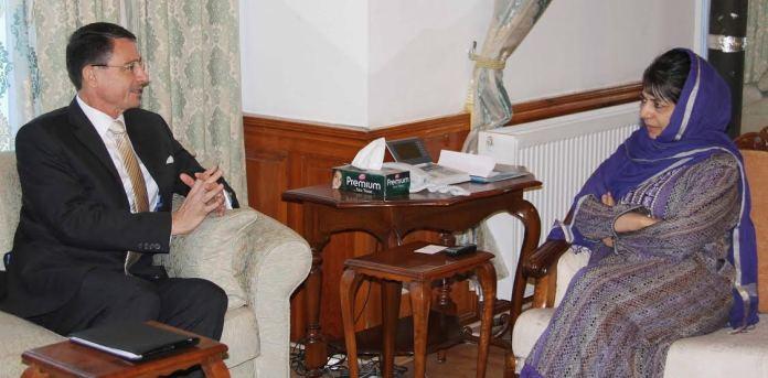 CM Mehbooba Mufti with German Ambassador on May 02, 2016 in Srinagar.