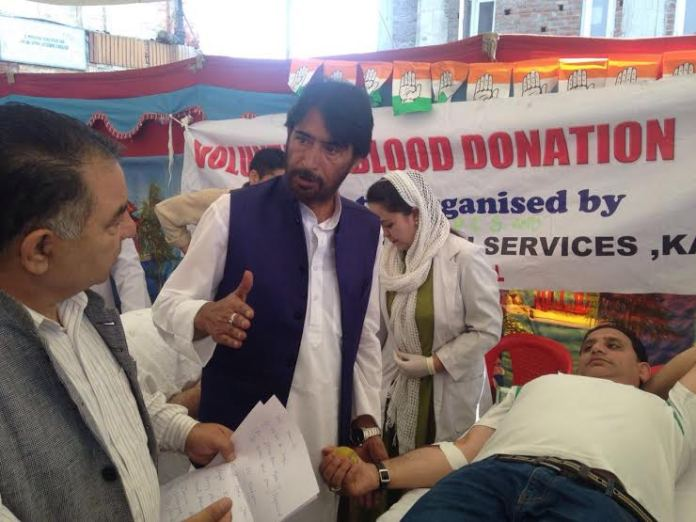 Congress organized a blood donation camp on May 21, 2016 at party headquarters in Srinagar.