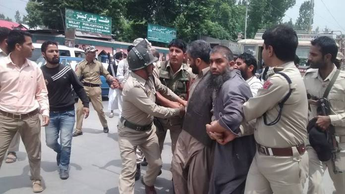 Police detain Hurriyat Conference (g) Jammu province head, Nayeem Ahmad Khan on Thursday.
