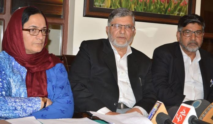 Prof Hameedah Nayeem, Adv Mian Qayoom and Adv Arshad Andrabi during a press conference in Srinagar. (KL Image: Bilal Bahadur)
