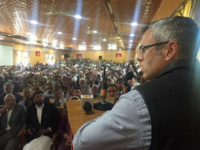 Omar Abdullah addressed a party workers meet in North Kashmir's Baramulla on Saturday.