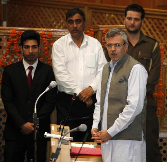 """""""Take one step and if you need me, I will be by your side; my team will be with you,"""" Omar Abdullah during discussion on Governor's speech on May 27, 2016. (KL Images: Bilal Bahadur)"""