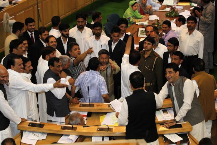 Opposition disrupted proceedings on day third of 2016-17 budget session.