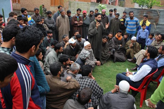 PDP youth wing president, Waheed Ur Rehman Para, in a meet with his party workers in Pulwama on May 03, 2016.