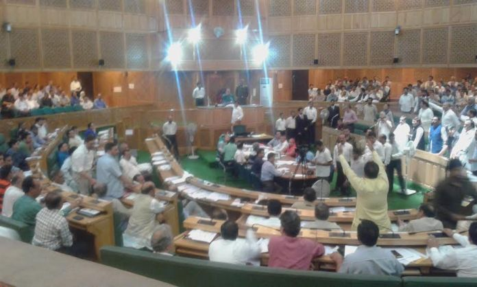 BJP members speaking against the Land bill while Opposition sloganeering in favour of it on Thursday, the last day of Legislative Assembly.