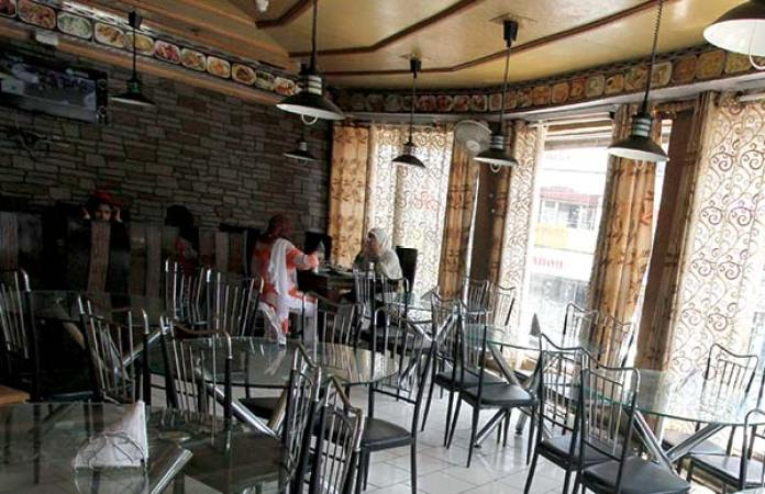 Inner view of 'Knife and Fork' at Regal Chowk in Srinagar.