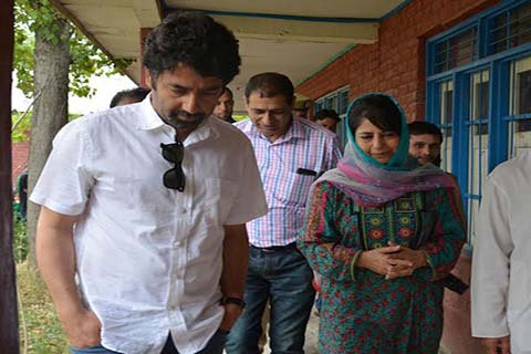 CM Ms Mehbooba Mufti visited some polling stations in Islamabad on Wednesday along with her brother Tasaduq Mufti.