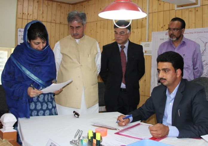 Ms Mehbooba Mufti filing her nomination papers from Islamabad assembly seat on June Ist 2016