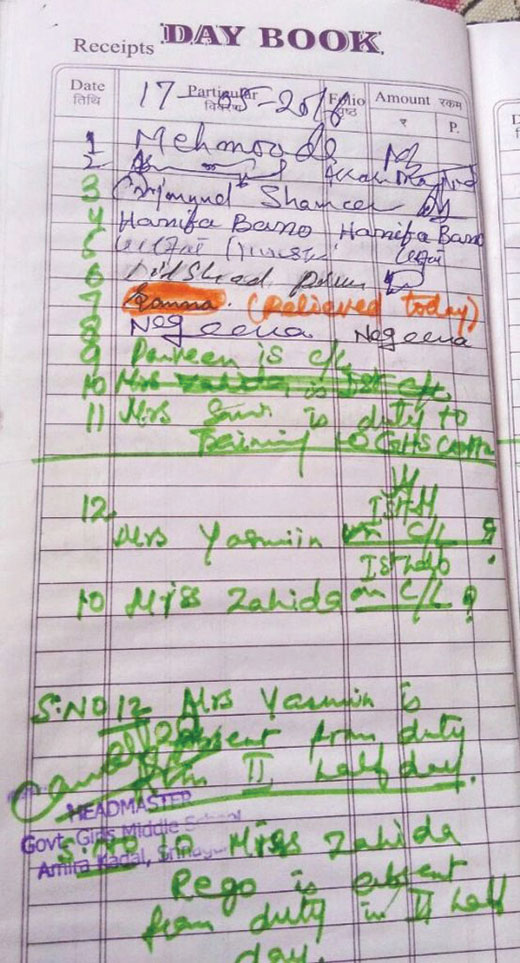 Staffers-in-middle-school-Amira-Kadal-have-been-marking-their-attendance-on-a-day-book