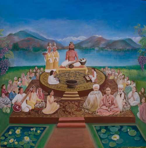 Abhinavagupta with his two spiritual consorts, his pupils and followers - a painting by German artist Claudia Dose