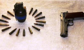 The ammunition recovered from ammunition from the Hizb militant, Manzoor Ahmad Khan, in Kulgam on Oct 28, 2016. (KL Image: Shah Hilal)
