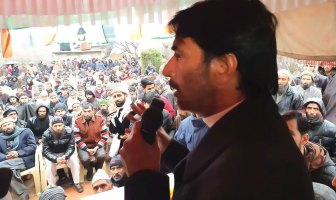 Congress State President G A Mir addressing people in South Kashmir.