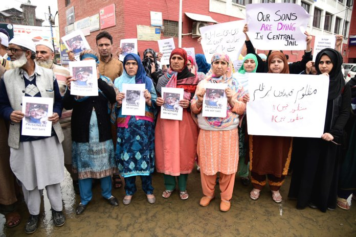 Family members of prisoners protesting at Press Colony.