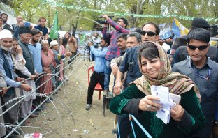 Mehbooba Mufti during an election rally in South Kashmir.