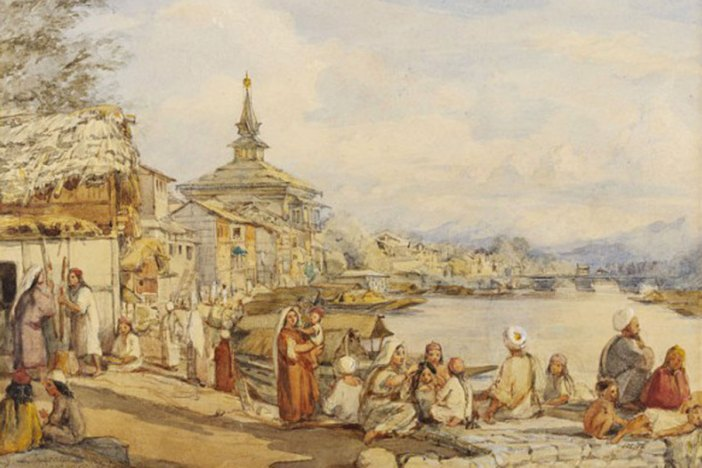 Near Khanqah-e-Moala British colourist William Carpenter Junior (1818-1899) has drawn this picture during one of his three visits to Kashmir. the most Known was in 1853.