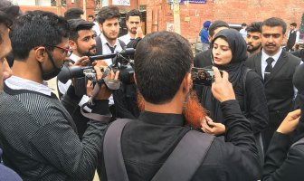 Law students protesting against women. KL Image: Bilal Bahadur