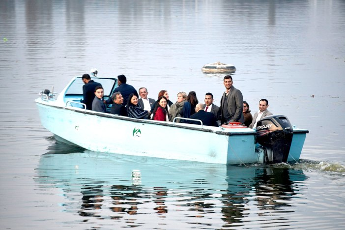 EU delegation enjoying a boat ride in Dal Lake Srinagar. KL Image by Bilal Bahadur