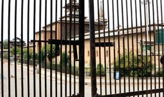 Locked gates of Jamia Masjid Srinagar.
