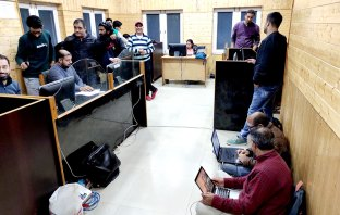 Inside view of Media Facilitation Centre, stationed at Directorate of Information Department, Srinagar.