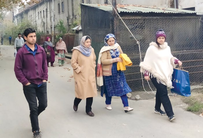 Relatives of political detainees coming out of MLA hostel Srinagar. KL Image by Tahir Bhat
