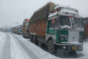 Traffic Suspended On Kashmir Highway After Fresh Snowfall