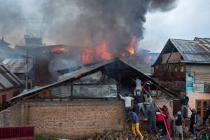 In Photos: Fire Amid Lockdown Guts 3 Houses in Downtown Srinagar