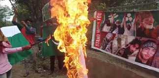 Youth burn Indian flag in Pulwama's Kareemabad