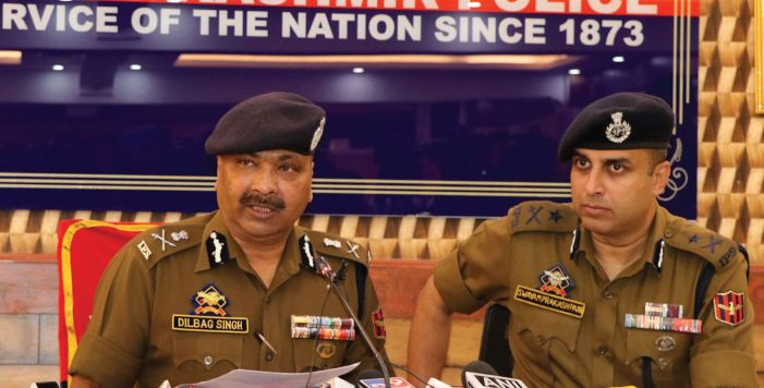 JK DGP addressing a press conference in Srinagar