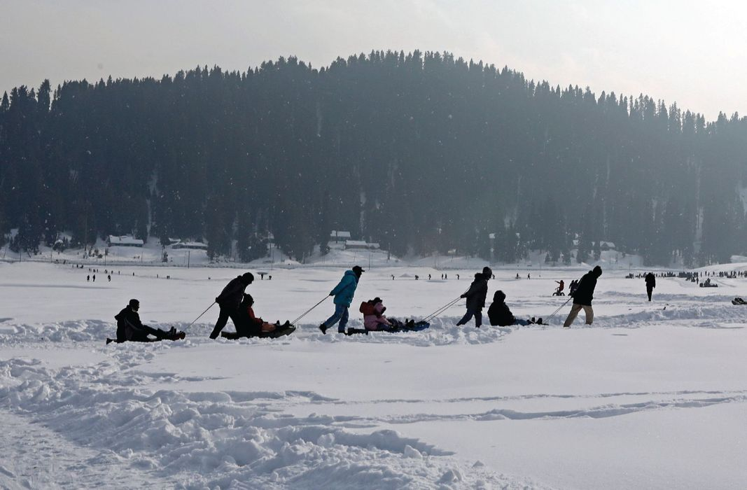 A view of snow clad Gulmarg
