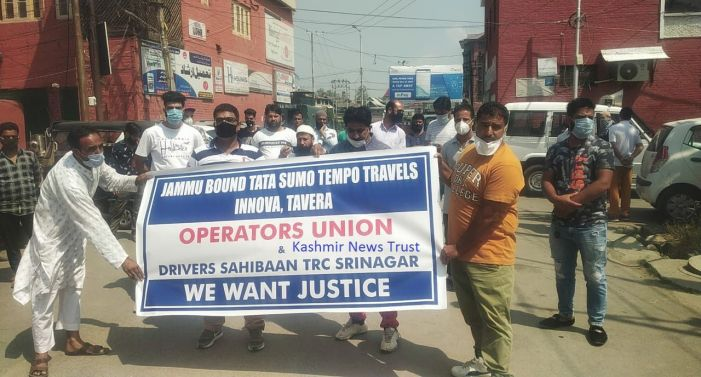 Cab operators protest, seek permission to ply on Srinagar-Jammu highway again