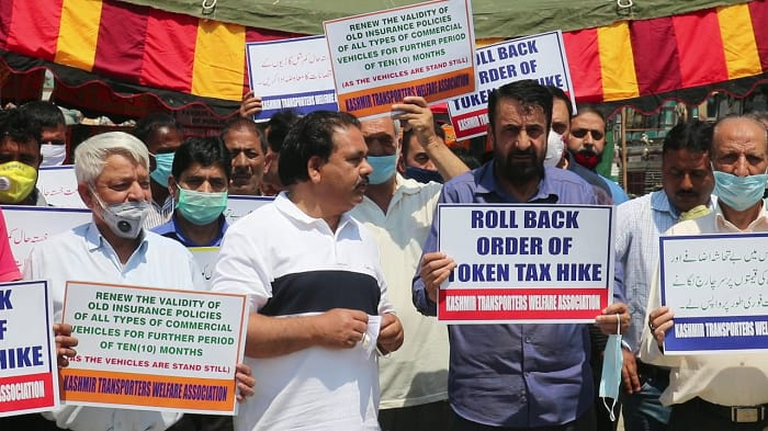 'If SRTC buses are plying, what's our fault, we too have families to feed': Kashmir transporters stage protest