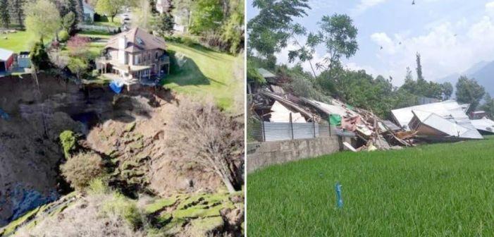 Landslide at Kangan blocks Srinagar Leh highway, damages houses