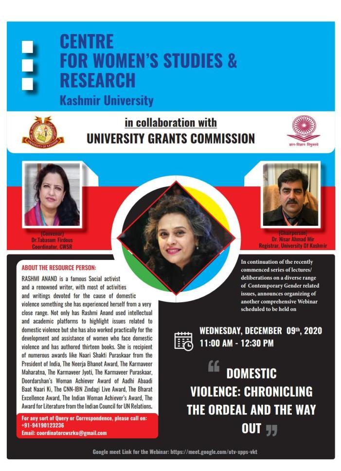 KU organises webinar on Domestic Violence