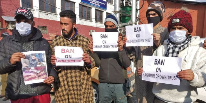 Protest against Kashmir Crown Trust for denying wheelchair to Kupwara man