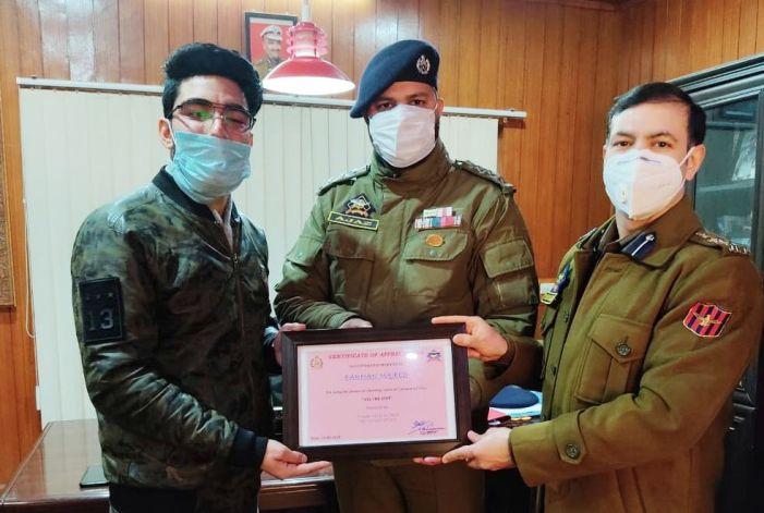 SSP Awantipora felicitates youngest Commercial pilot Farhan Majeed